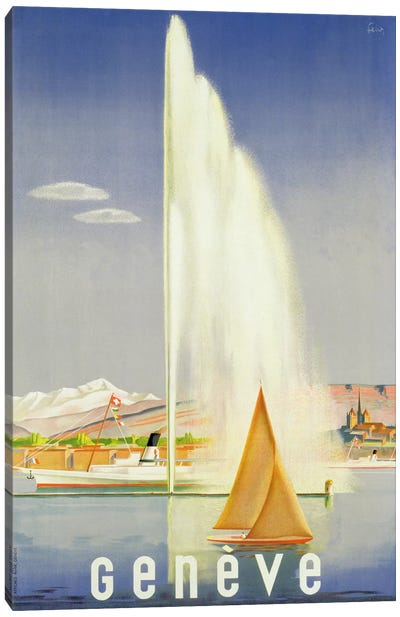 Advertisement for travel to Geneva, c.1937  Canvas Art Print