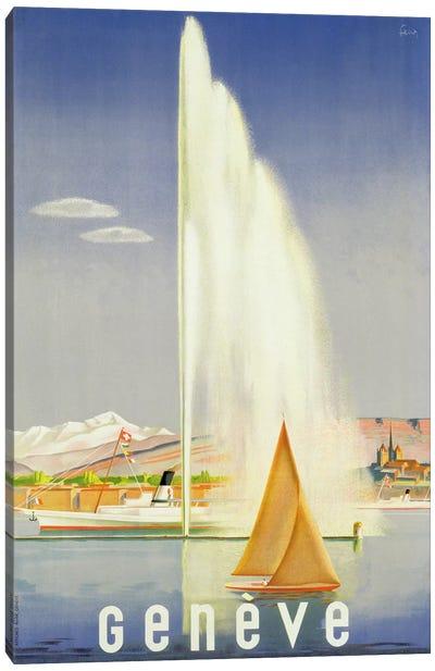 Advertisement for travel to Geneva, c.1937  Canvas Art Print