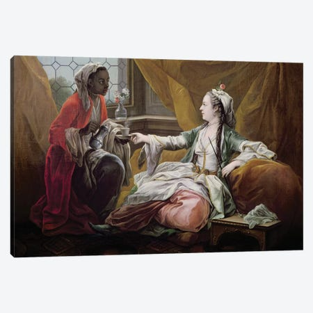 Sultana being offered coffee by a servant  Canvas Print #BMN3827} by Carle van Loo Canvas Art