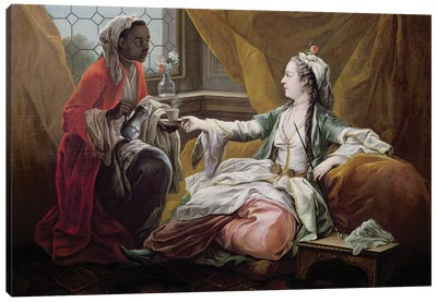 Sultana being offered coffee by a servant  Canvas Art Print