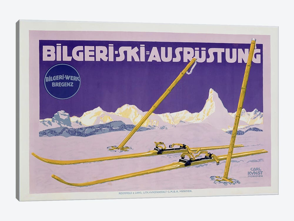 Advertisement for skiing in Austria, c.1912  by Carl Kunst 1-piece Canvas Print