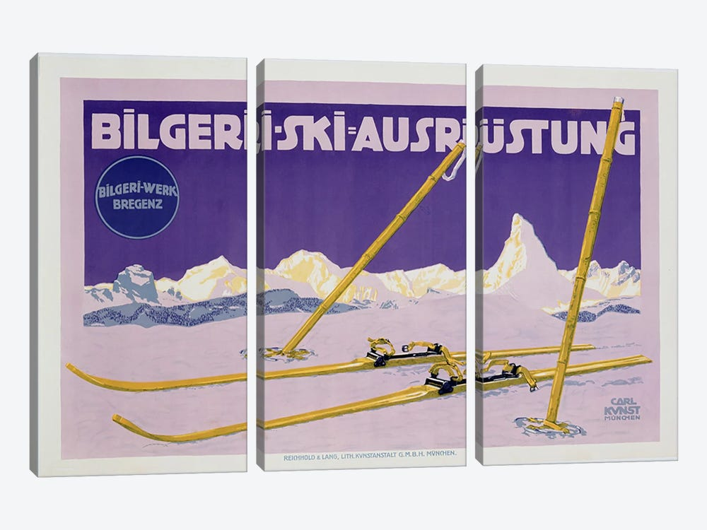 Advertisement for skiing in Austria, c.1912  by Carl Kunst 3-piece Art Print