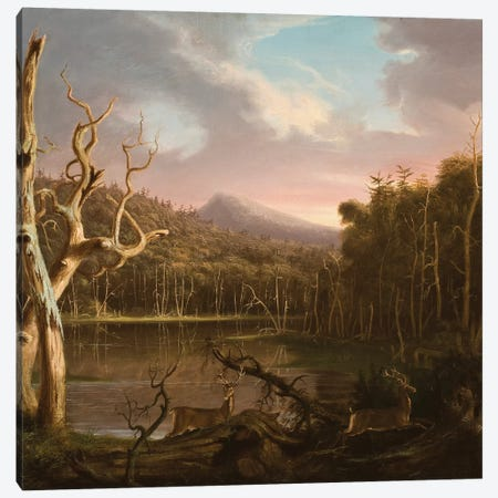 Lake with Dead Trees  Canvas Print #BMN3832} by Thomas Cole Canvas Wall Art