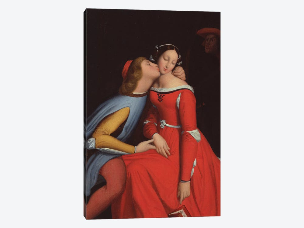 Francesca da Rimini and Paolo Malatesta, 1819  by Jean-Auguste-Dominique Ingres 1-piece Canvas Print