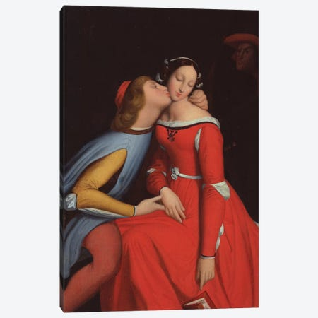 Francesca da Rimini and Paolo Malatesta, 1819  Canvas Print #BMN3836} by Jean-Auguste-Dominique Ingres Canvas Art Print