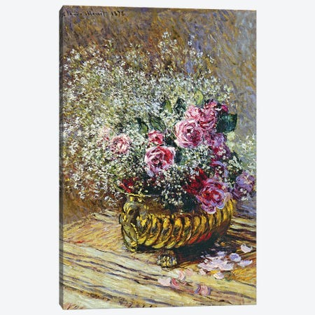 Roses in a Copper Vase, 1878  Canvas Print #BMN3838} by Claude Monet Canvas Wall Art