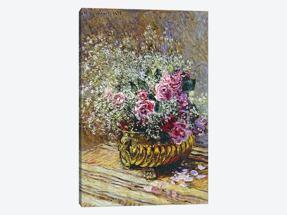 Roses in a Copper Vase, 1878  by Claude Monet 1-piece Canvas Print