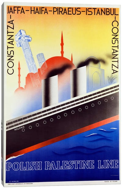 Poster advertising the Polish Palestine Line, c.1933  Canvas Art Print