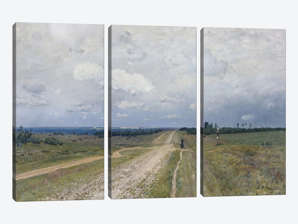 The Vladimirka Road, 1892  by Isaak Ilyich Levitan 3-piece Canvas Print