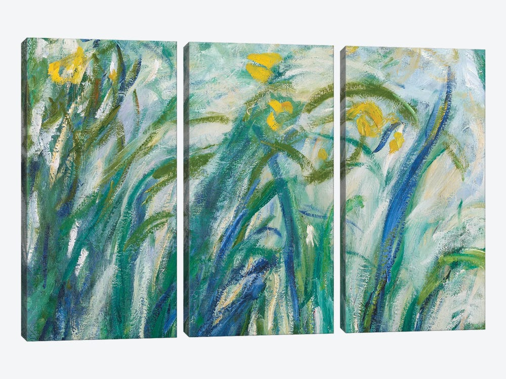 Yellow and Purple Irises, 1924-25  by Claude Monet 3-piece Canvas Artwork