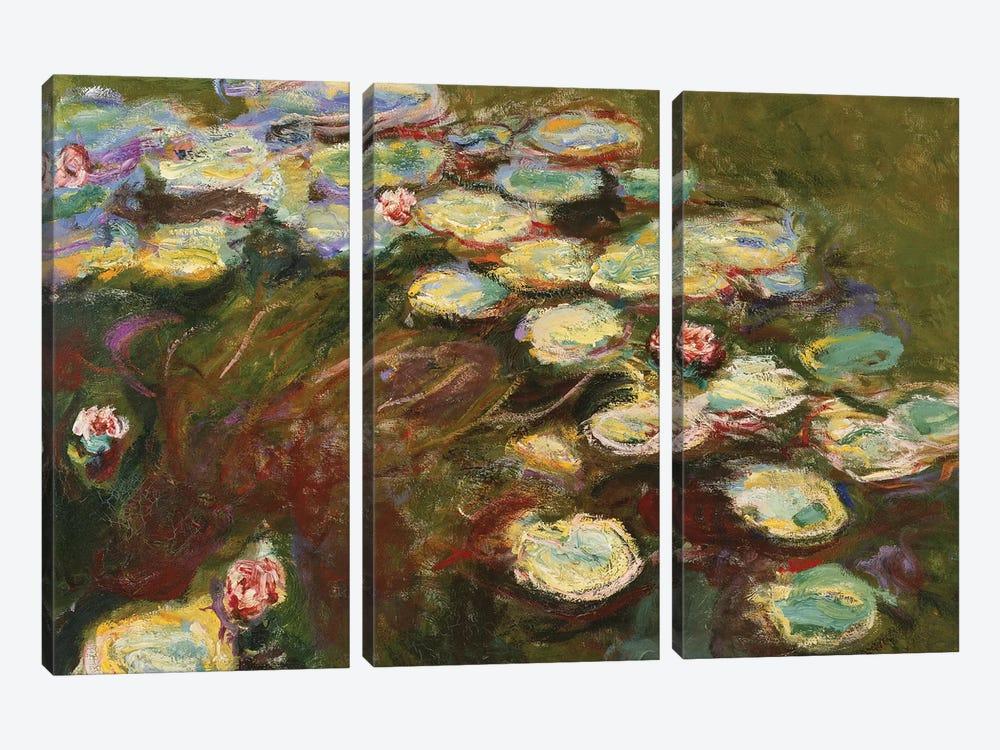 Waterlilies, 1914-17  by Claude Monet 3-piece Canvas Art