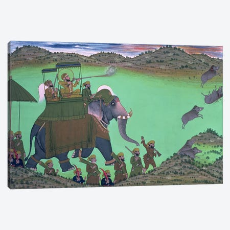 Maharana Sarup Singh of Udaipur shooting boar from elephant-back, Rajasthan, 1855  Canvas Print #BMN386} by Indian School Canvas Art