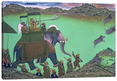 Maharana Sarup Singh of Udaipur shooting boar from elephant-back, Rajasthan, 1855  Canvas Art Print