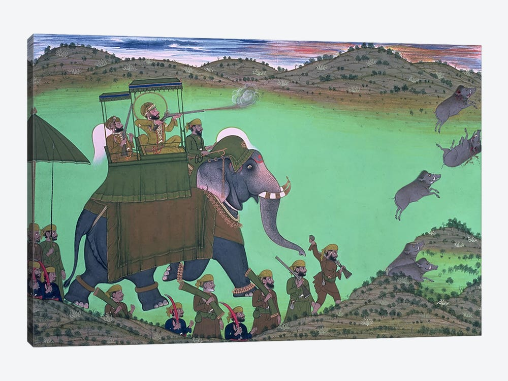 Maharana Sarup Singh of Udaipur shooting boar from elephant-back, Rajasthan, 1855  by Indian School 1-piece Canvas Art Print
