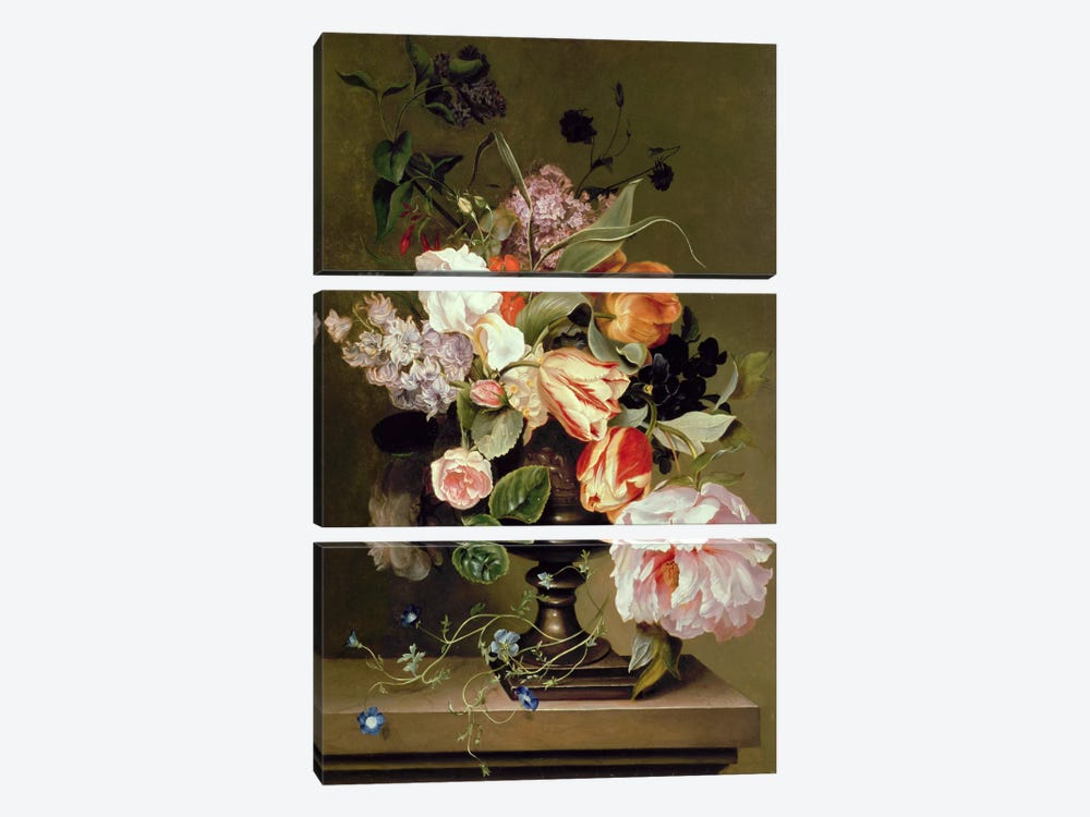 Still life with flowers by Marie Geertruida Snabille 3-piece Canvas Art