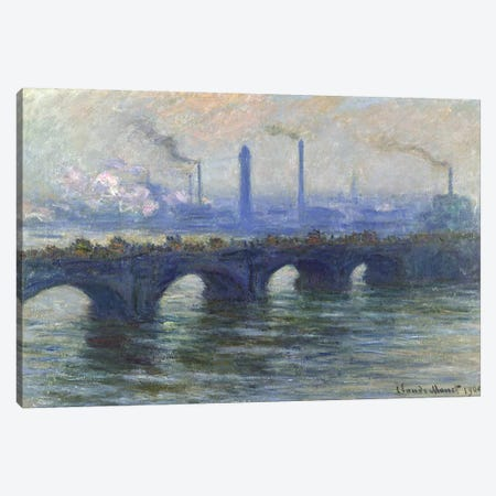 Waterloo Bridge, London, 1900  Canvas Print #BMN3884} by Claude Monet Canvas Wall Art