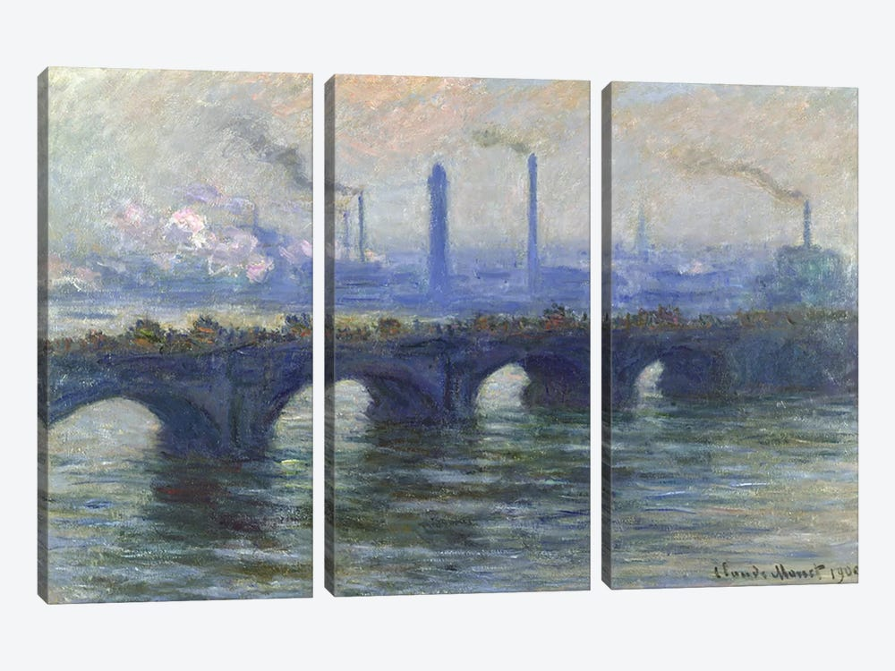Waterloo Bridge, London, 1900  3-piece Canvas Wall Art