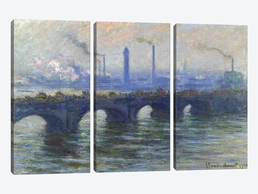 Waterloo Bridge, London, 1900  by Claude Monet 3-piece Canvas Wall Art