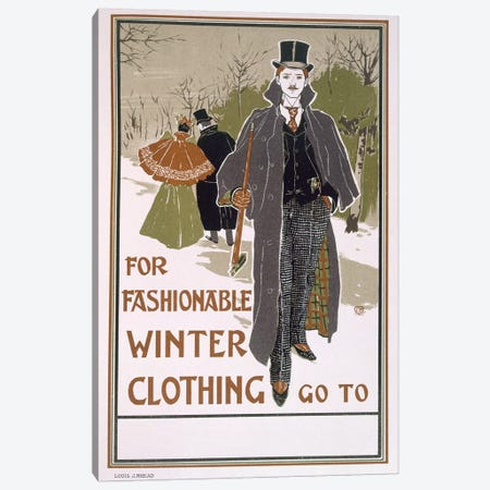 Draft poster design for a winter clothing company  Canvas Print #BMN3886} by Louis John Rhead Canvas Artwork