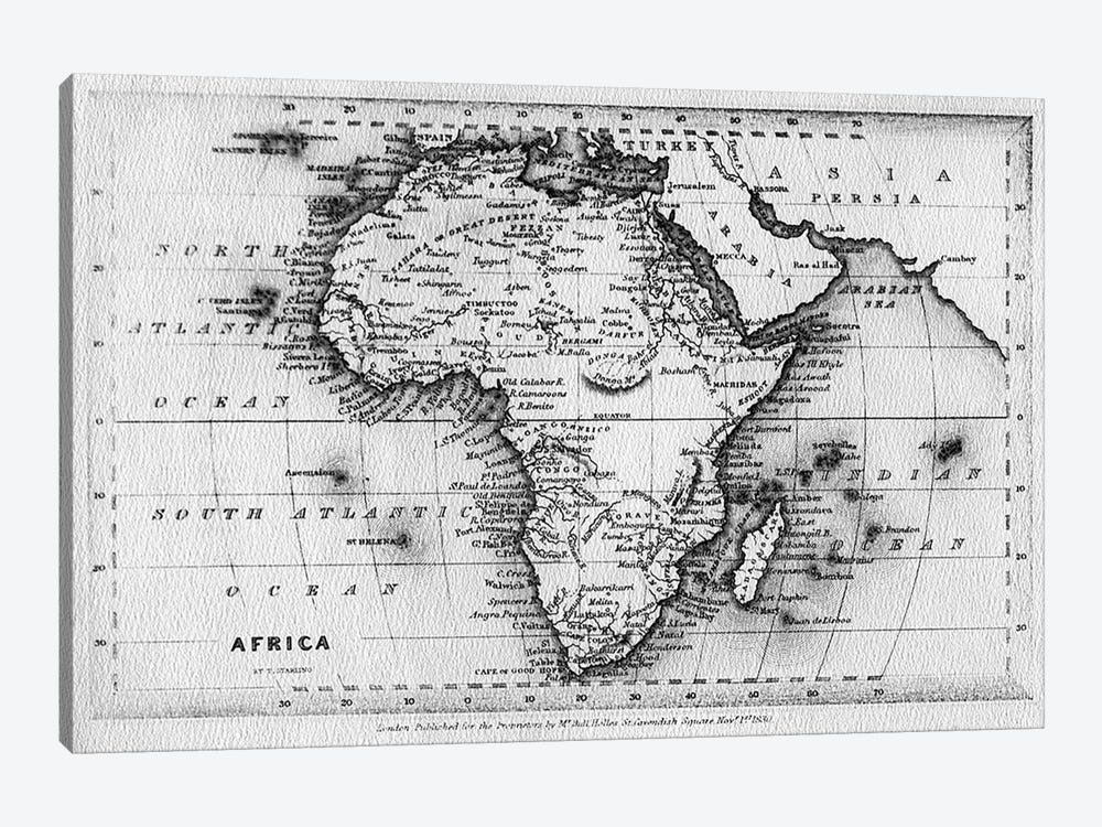 Map of Africa, engraved by Thomas Stirling, published by Edward Bull, 1830  by English School 1-piece Canvas Wall Art