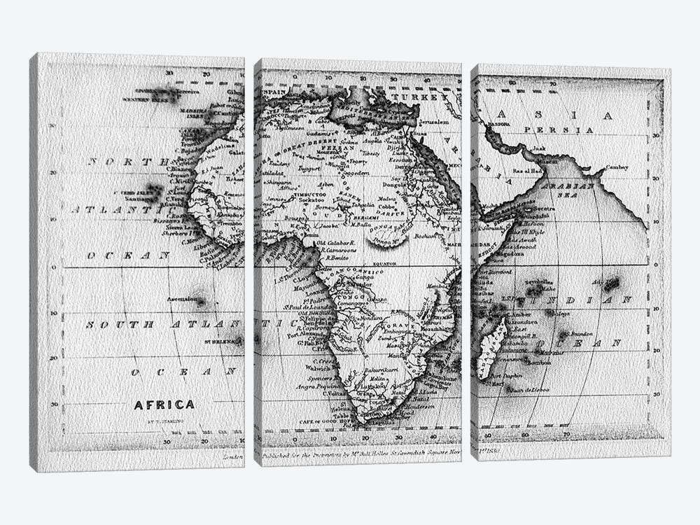 Map of Africa, engraved by Thomas Stirling, published by Edward Bull, 1830  by English School 3-piece Canvas Artwork