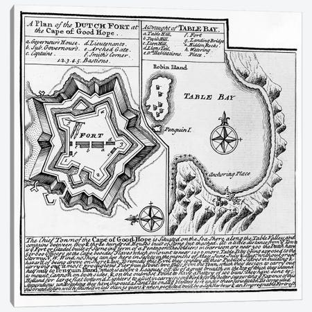 A Plan of the Dutch Fort at the Cape of Good Hope and A Draught of Table Bay  Canvas Print #BMN3892} by English School Canvas Artwork