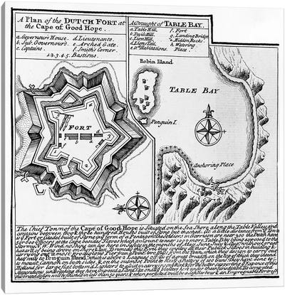 A Plan of the Dutch Fort at the Cape of Good Hope and A Draught of Table Bay  Canvas Print #BMN3892