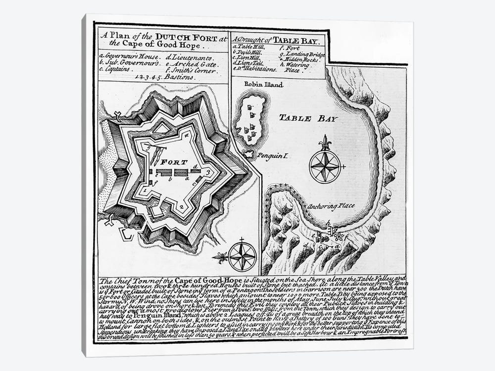 A Plan of the Dutch Fort at the Cape of Good Hope and A Draught of Table Bay  by English School 1-piece Canvas Art Print