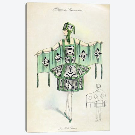 'Crossword' Fancy Dress costume, c.1920 (colour litho) Canvas Print #BMN38} by French School Canvas Print
