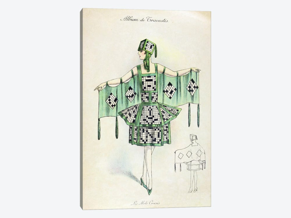 'Crossword' Fancy Dress costume, c.1920 (colour litho) by French School 1-piece Canvas Art Print