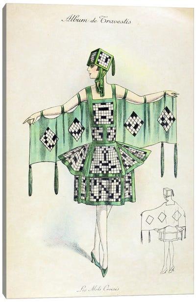 'Crossword' Fancy Dress costume, c.1920 (colour litho) Canvas Art Print