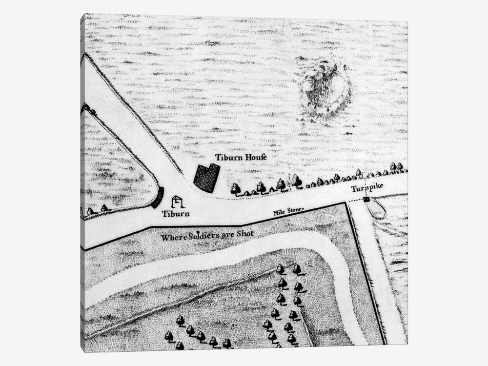 Map of Tyburn, 1746  by John Rocque 1-piece Canvas Artwork