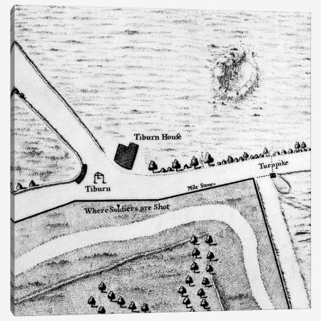 Map of Tyburn, 1746  Canvas Print #BMN3907} by John Rocque Canvas Art Print