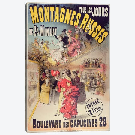 Poster advertising the 'Montagnes Russes' Roller Coaster in the Boulevard des Capucines, Paris, 1888  Canvas Print #BMN3912} by French School Art Print