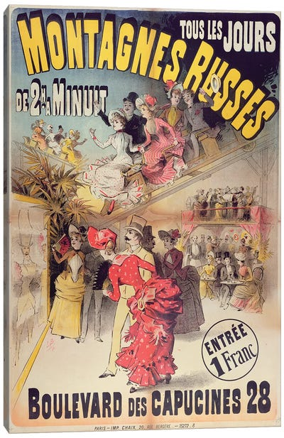 Poster advertising the 'Montagnes Russes' Roller Coaster in the Boulevard des Capucines, Paris, 1888  Canvas Art Print