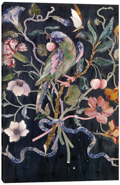A Parakeet in a Bouquet  Canvas Art Print