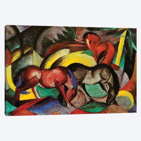 Three Horses, 1912  Canvas Print #BMN3921} by Franz Marc Canvas Wall Art
