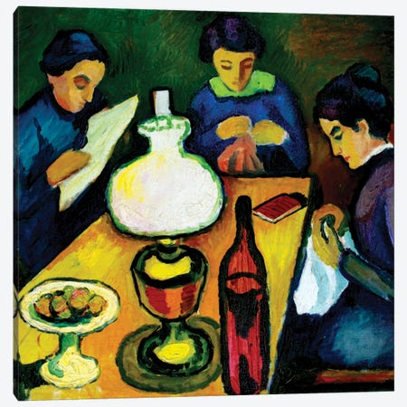 Three Women at the Table by the Lamp, 1912  Canvas Print #BMN3924} by August Macke Canvas Print