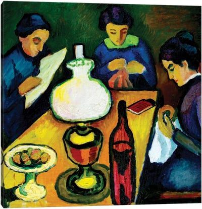 Three Women at the Table by the Lamp, 1912  Canvas Art Print