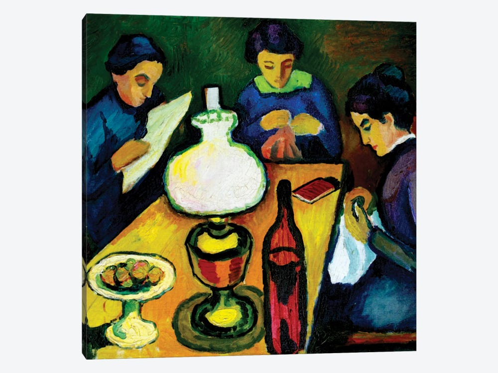 Three Women at the Table by the Lamp, 1912  by August Macke 1-piece Canvas Print