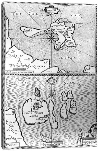 Maps of Holy Island and Farne Island, Northumberland, from 'The Theatre of the Empire of Great Britaine' by John Speed, 1676  Canvas Art Print