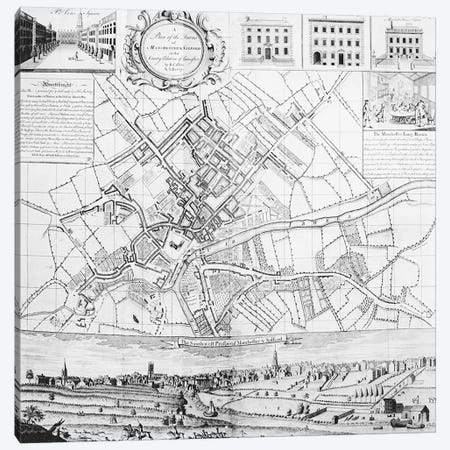 Map of Manchester, 1751  Canvas Print #BMN3936} by Casson & Berry Canvas Wall Art