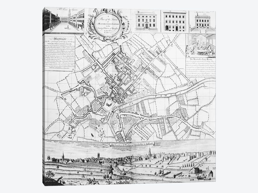 Map of Manchester, 1751 1-piece Canvas Artwork