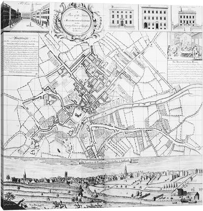 Map of Manchester, 1751  Canvas Art Print