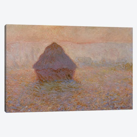 Grainstack, Sun in the Mist, 1891  Canvas Print #BMN3958} by Claude Monet Canvas Art Print