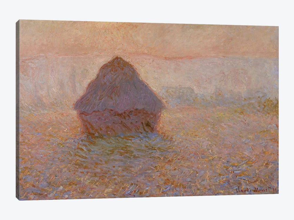 Grainstack, Sun in the Mist, 1891  by Claude Monet 1-piece Canvas Art