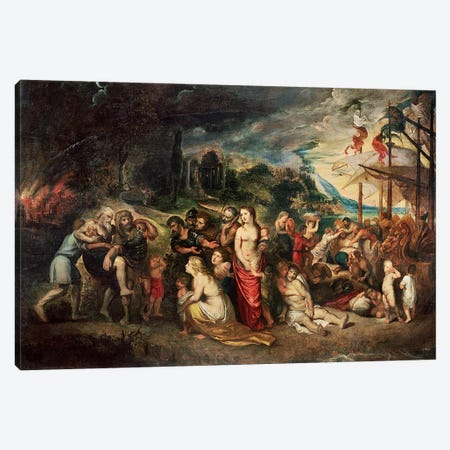 Aeneas prepares to lead the Trojans into exile, c.1602  Canvas Print #BMN395} by Peter Paul Rubens Canvas Print