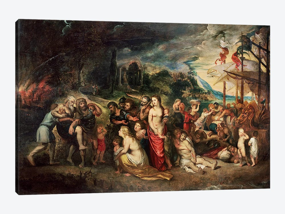 Aeneas prepares to lead the Trojans into exile, c.1602  by Peter Paul Rubens 1-piece Art Print