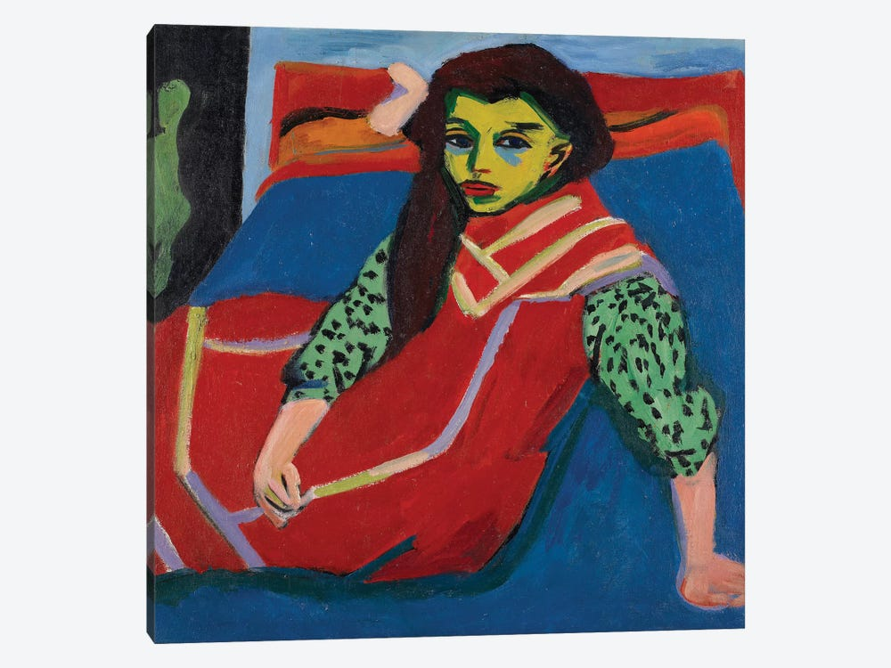 Seated Girl  by Ernst Ludwig Kirchner 1-piece Canvas Art Print