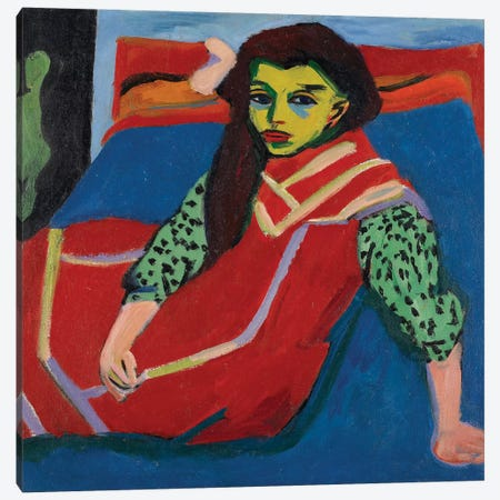 Seated Girl  Canvas Print #BMN3960} by Ernst Ludwig Kirchner Canvas Wall Art
